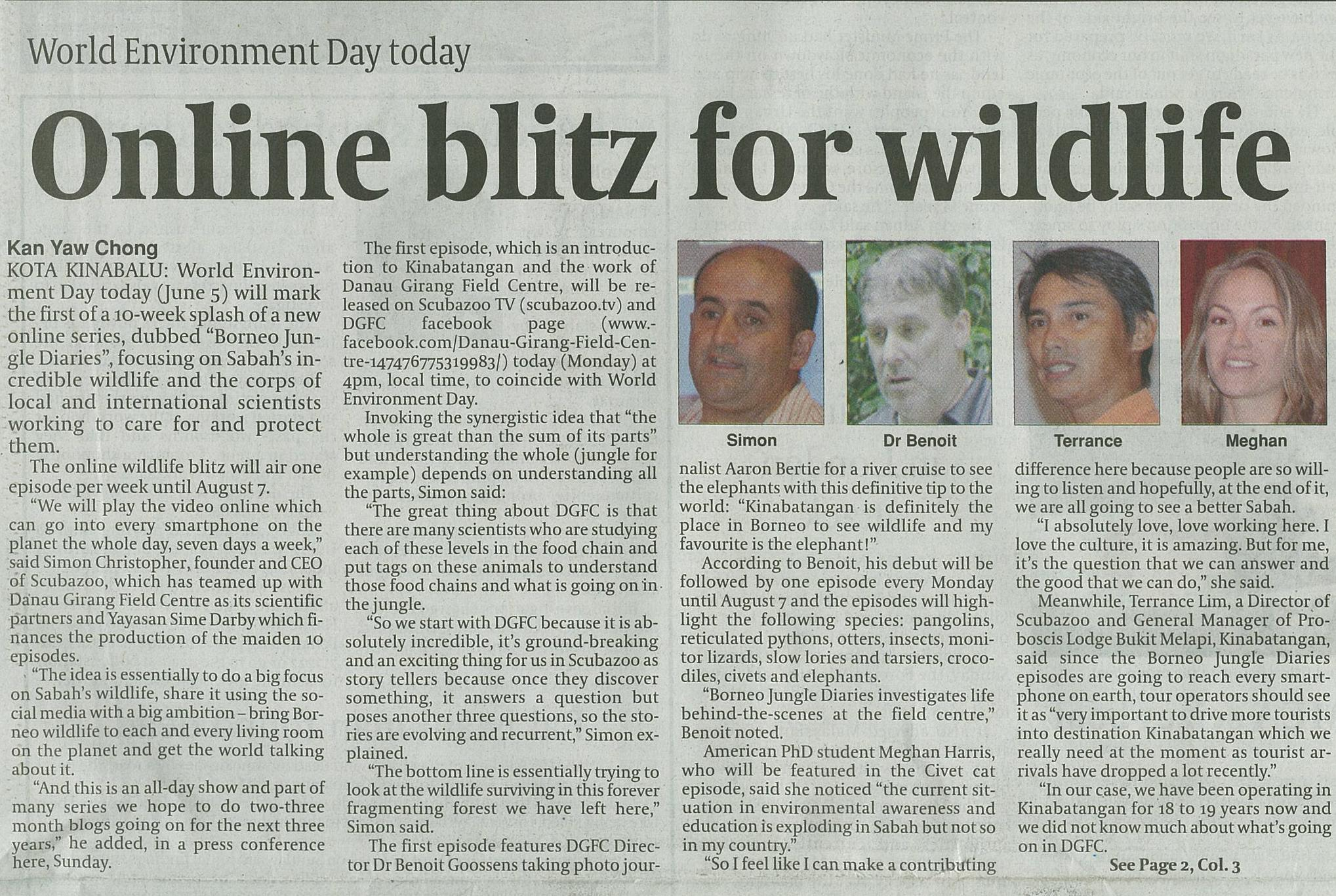 Daily Express - World Environment Day - Online Blitz for wildlife. 5th June 2017
