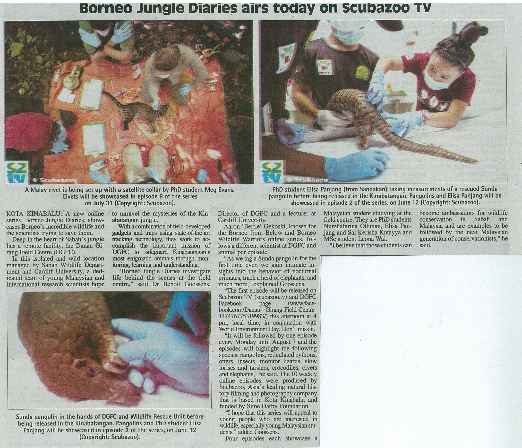 New Sabah Times - Borneo Jungle Diaries airs today on SZtv. 5th June 2017