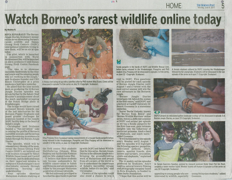 The Borneo Post - Watch Borneo's rarest wildlife online today - 5th June 2017